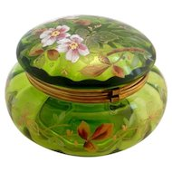Large Antique Green Rose Enameled Dresser Patch Box Powder Jar