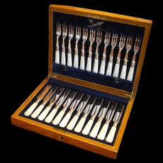 Antique Sterling English Silver Fork and Knife 24pc Fish Set Mother of Pearl Handles w Case/ Key