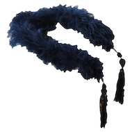 Antique French Flapper Navy Blue Ostrich Boa