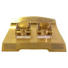 Sleek Art Deco Crystal Inkwell Bronze