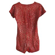 Art Deco 1920's Knit Red Swimsuit with Metal Decoration