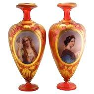 Antique Pair of Bohemian Moser 1900's Portrait Cranberry Vases