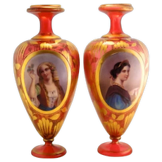 Antique Pair of Bohemian Moser 1900's Portrait Cranberry Vases