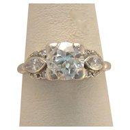 Art Deco 1930 1ct t.w. Old European Cut Diamond Platinum Engagement Ring