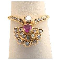 Victorian Art Nouveau Ruby Diamond 14k Gold Fan Ring