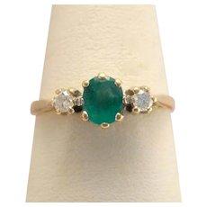 Antique Edwardian 10k Gold Emerald & Diamond Ring