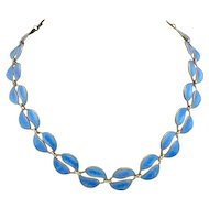 Sterling DAVID ANDERSEN Norway Cobalt Blue Guilloche Enamelled Leaf Necklace Earrings
