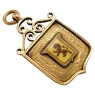 Antique 10k 375 Gold Heraldic Rampant Lion Watch Fob