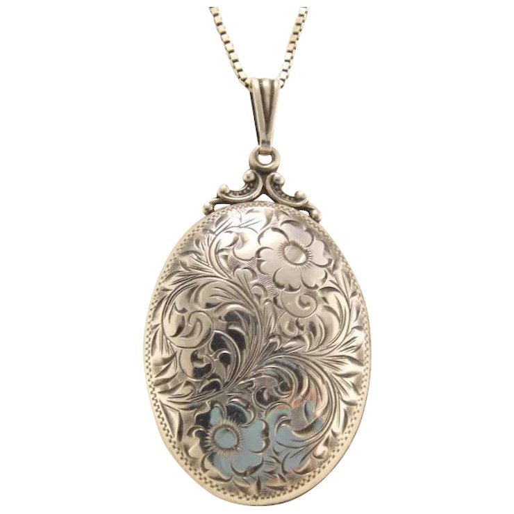 silver p engraved asp lockets shaped extra large sterling oval flat locket