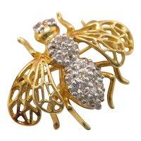 Estate 10k Gold Diamond Bee Brooch