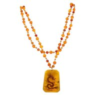 Vintage Amber and Glass Intaglio Pendant Necklace
