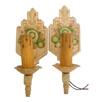 Vintage Art Deco Lighting Pair of  Wall Sconces