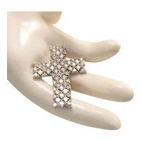 Estate Large Designer Sterling Silver CZ Cross Enhancer Pendant