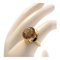 Vintage 14k Gold Retro Smokey Topaz Ring