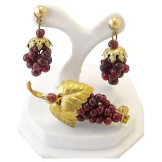Antique Bohemian Garnet Grape Gold Filled Brooch and Earrings Set - Red Tag Sale Item