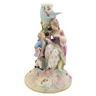 Large Antique Meissen Johansen Roth Porcelain Figurine Candle Holder circa 19c