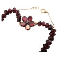 Antique 14k Gold Georgian Hand Cut Garnet Bead Necklace