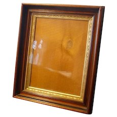 Antique Mahogany Wood Gilded Picture Frame Shadow Box