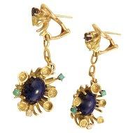 Estate Vintage 14k Gold Lapis Diamond Turquoise Sapphire Retro Earrings