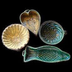 Antique Set 19th Century French Provence Glazed Pottery Molds Confit