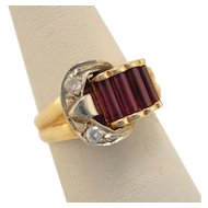 Art Deco 14k Gold Ruby Diamond Buckle Ring