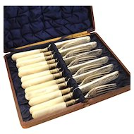 Antique Silver Plate Fish Set Fruit Knives & Forks with Mother Of Pearl Handles for 6 Original Box