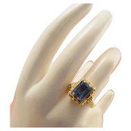 18k Gold Art Deco Blue Topaz Ring