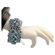 Sherman Tiered Wide Hinged Cuff Rhinestone Bracelet in Blue