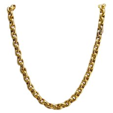 Estate Heavy 14k Gold Rolo Chain Necklace with Diamond Clasp 42.5 Grams