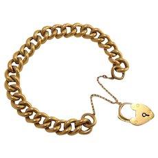 Antique Heavy 9k 9ct Gold Heart Padlock Bracelet
