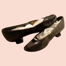 Antique Edwardian Cut Steel Decorated Leather Ladies Shoes