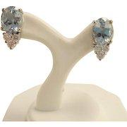 Estate 18k White Gold Aquamarine and Diamond Earrings