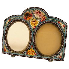 Antique Italian Micro Mosaic Floral Double Oval Picture Frame