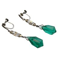 Art Deco Sterling Dangle Tourmaline Crystal Drop Earrings