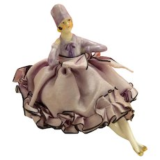 Art Deco Purple Half Doll Pin Cushion Germany