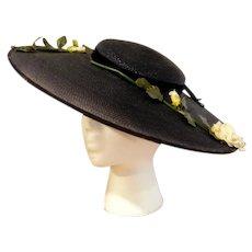 1e38353865eed Recently Sold on Ruby Lane. SOLD. Vintage 1930 s Platter Tilt Wide Brim  Navy Blue Millinery Straw Hat with Navy Velvet Ribbon