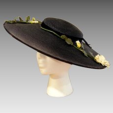 Vintage 1930's Platter Tilt Wide Brim Navy Blue Millinery Straw Hat with Navy Velvet Ribbon