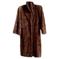 Estate Soft Brown Canadian Mink Fur Coat Size M - L  Excellent