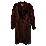 Estate Black Brown Canadian Female Mink Fur Coat Size  L XL Excellent