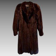 Estate Black Brown Canadian Female Mink Fur Coat Size  L XL Excellent