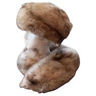 Estate Silver Fox Fur Hat and Collar