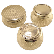 Antique Cut Crystal Jars With Sterling Silver Tops