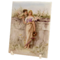 19th Century Hand Painted Porcelain Plaque Painting Depicting Courting Couple