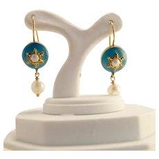 Antique Blue Enamel and Pearl 10k Gold Earrings
