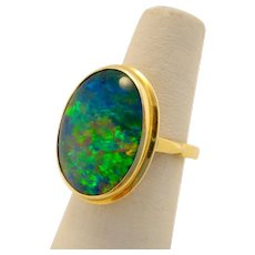 Vintage 18k Gold Black Opal Doublet Ring