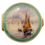 Exceptional Venice Sterling Guilloche Enamel Compact