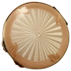 Large Sterling Silver Art Deco Enamel Guilloche Compact