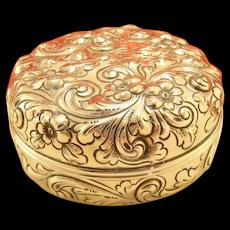 Antique Victorian Large Floral Repousse Box Sterling Silver