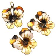 Vintage David-Andersen Sterling Silver Enamel Pansy Pendant Earrings Set