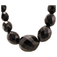 Victorian Mourning Faceted Whitby Jet Bead Necklace